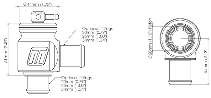 Auto Parts & Accessories Turbosmart TS-0203-1223 Kompact 34 mm Plumb Back Universal Fit Blow Off Valve Auto Parts and Vehicles